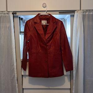 Worthington Burgundy Genuine Leather Jacket